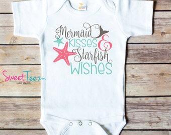 Mermaid Shirt Girl Baby Bodysuit Girl Mermaid Kisses StarFish Wishes one piece