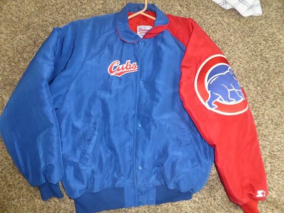 Vtg Chicago Cubs Starter Diamond Collection MLB Button Up Satin Jacket Sz Men's 2XL 6Z8e2n