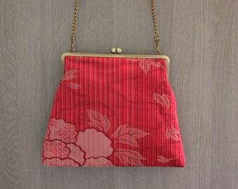 Pink peony/ Kimono bag/ Vintage / Cross body bag /Hand-made