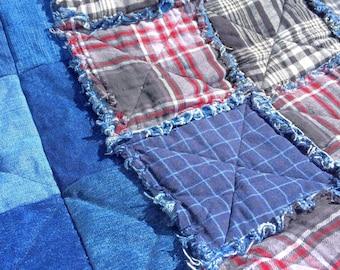 Plaid Flannel and Denim Rag Quilt, Farmhouse, Rag Quilts, Decor, Lap Quilt, Blanket, Throw Blanket, Denim, Flannel, Blue Jean, Upcycled