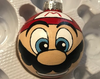Mario hand painted ornament