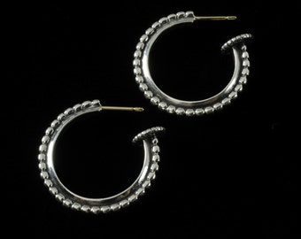 Large Beaded Hoop Earrings, B.C. Silver Collection     6321S