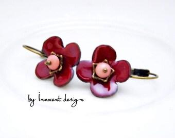 Dahlia - enamel earrings - flower - burgundy-rose