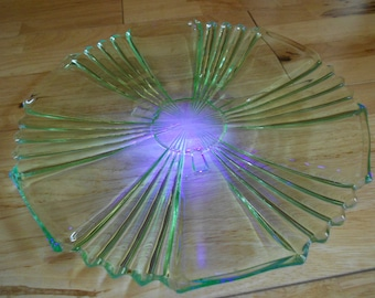 Green pressed glass plate