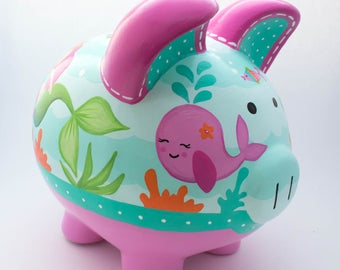 Mermaid Ocean Personalized Piggy bank in Hot Pink and Turquoise