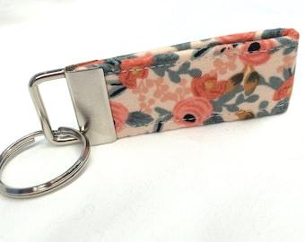 "Rifle Paper Co. 3"" MINI Key fob Les Fleurs Fabric Rosa Floral Peach"
