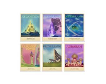 Retro reizen Poster - Disney - Set van 6 - vele maten - Aladdin Tangled bevroren Pan zeemeermin leeuwenkoning kinderen kinderen Film typografie Art Print