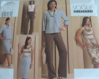 Vogue V1100 Size 14-20 Misses Jacket, Top, Dress, Skirt and Pants Sewing Pattern / Uncut FF