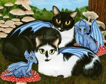 Cat Art Dragons Cat Painting Tuxedo Cats Mushrooms Fantasy Cat Art Limited Edition Canvas Art Print 14x11 Art For Cat Lover