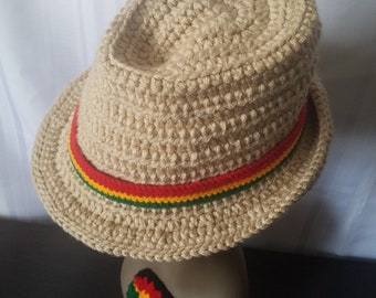 Malanda's Classic Fedora | Crochet | Handmade | Hat | White | Buff | Beige | Aran | Ribbed | Textured | Elegant