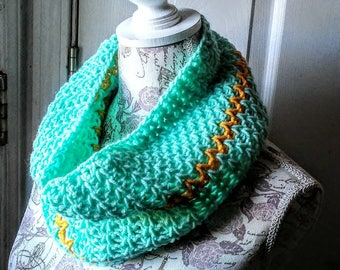Crocheted V-Stitch Cowl in Light Teal and Yellow, Striped Neckwarmer
