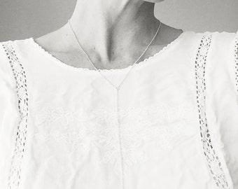Geometric lariat necklace, sterling silver, modern, minimal jewelry, eco friendly, layering - The Geometry of the Heart Lariat Necklace