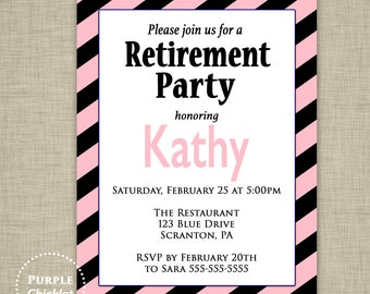 Pink Black Retirement Party Invitation Pink Stripes Adult Party Invite Farewell Celebration Printable JPG File 354c