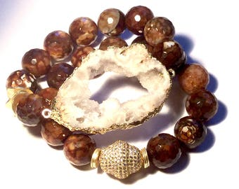Brown Marble  Set of 2 with Large Druze Rock. Gold CZ Pave Bead and Gold Wavy Spacers