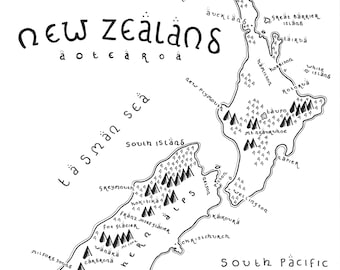 New Zealand - Giclée Print