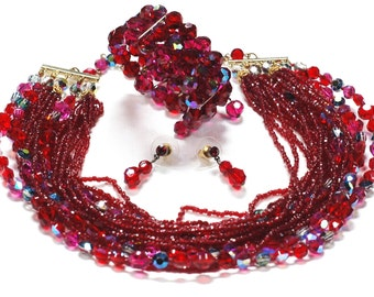 Red AB Crystal Necklace Bracelet Earring Parure