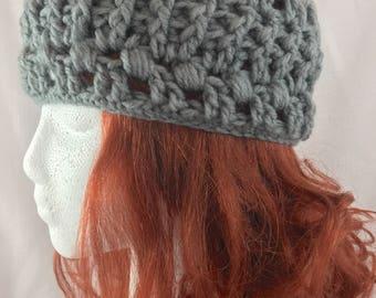 Grey headband, crochet headband, women headband, knit headband, boho headband, crochet ear warmer, winter headband, gift for woman, grey hat