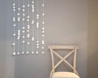 Pom pom wall art large / shabby chic decor / original wall hanging / bohemian /baby nursery/ Christmas decor/ gift ideas snow flake garland