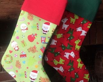 Christmas Stockings, Lined Stockings, Deer Stocking, Ann Kelle Deer, Riley Blake Santa