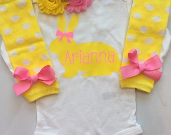 Baby Girl Easter Outfit- personalized Easter clothes - baby girl spring outfit - newborn easter outfit - Baby girl Easter clothes