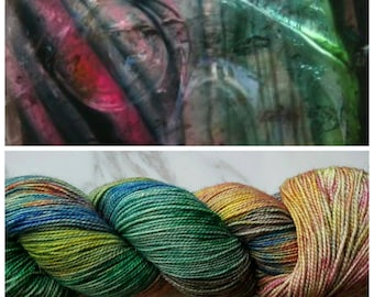 Hand Dyed Yarn, Merino, Nylon, Stellina, Sparkle, Perfect for Special Socks, Shawls and Lightweight Accessories - Charred Tourmaline