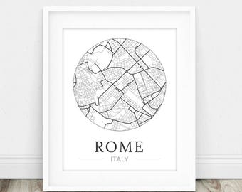 Rome Map - Map of Rome - Map of Rome Italy - Rome Print - Map Wall Art - Rome Italy - Map Print - Italy Wall Art - Italy Print - Italy Map