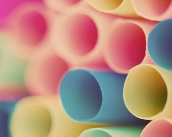 abstract macro drinking straws photograph / kitchen decor, nursery decor, pastel, circles, pink, peach, blue / straws / 8x8