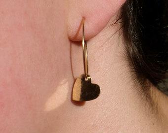 14k gold dangle heart hoop earrings   delicate hoop earrings   gold charm earrings