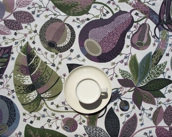 Tablecloth white purple blue moss olive green black leaves , table runner , napkins , curtains , pillows available, great GIFT