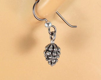 Pewter pine cone earrings, silver pinecone earrings, nature earrings, gift for her.