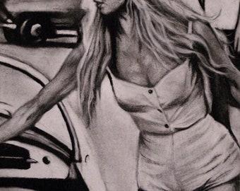 Brigitte Bardot & her car - Charcoal Drawing Print - 8 X 10