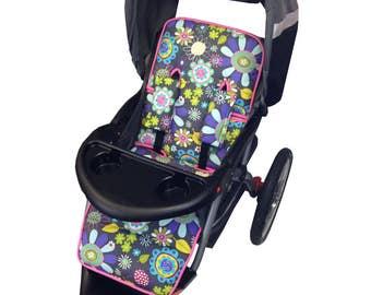 Flower Garden Stroller Liner - Reversible to Purple Minky