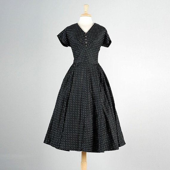 Black Dress 50s Size Vintage Dress Cocktail 50s Skirt Plus Taffeta Short Tea Dress 1950s XL Sleeve Dress Full Party STXHawq