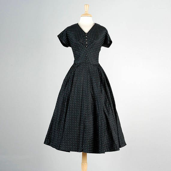Taffeta Skirt Size Dress Short Plus Full Dress 50s Tea Party 1950s 50s Dress Black Cocktail XL Sleeve Vintage Dress xY65qnqz
