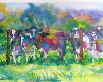 Cow-arama Cows Watercolor 8 x 10 Giclee Print