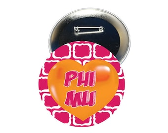Phi Mu Button - Heart