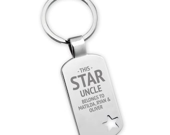 Engraved This star UNCLE belongs to keyring gift, star cut out keyring - 5638ST5