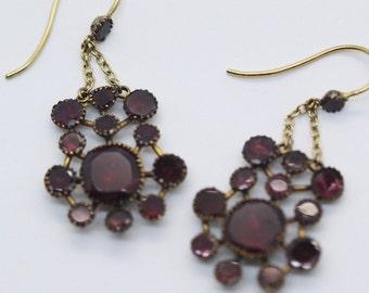 Antique Ear Pendants Queen Anne Earrings 15k Gold Garnets Circa 1710 (#5967)