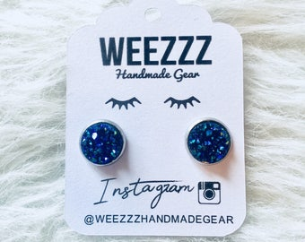 Royal Blue Druzy Earrings