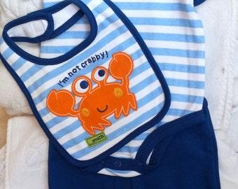 Baby Boys Infant Outfit Set Blue Crab Bodysuit Bib Pants-  Handmade Puppy Dog -  Sizes 0-3, 3-6, 6-9 months