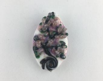 Lampwork lilac floral pendant