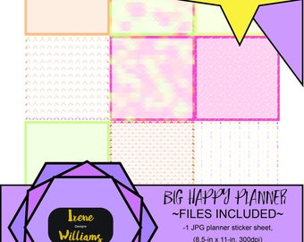 Arrows and Mosaic designs for your Big Happy Planner; Stickers for your Thankfully Square for Horizontal Spreads; Pink Yellow Green Orange