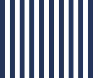 "Navy and White Stripe Fabric - Riley Blake Designs 1/2"" Stripe -  Blue and White Stripe - Half Inch Stripe Fabric"
