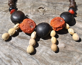Necklace with natural seeds, handmade, eco-Bijoux, nature to wear, necklace, necklace, eco friendly, ethnic, hand made