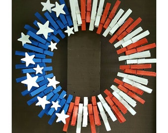 Fourth of July memorial day clothespin wreath America flag inspired