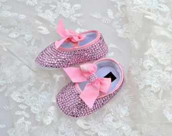 Swarovski Crystal Pink Rose baby pram bootie crib pre walker shoes with elastic strap and crystal bow - ideal xmas present!