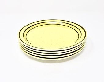 Vintage Salad Plates Yellow Black Bands Brendan Erin Stone By Arklow Ireland 1960s Irish Earthenware