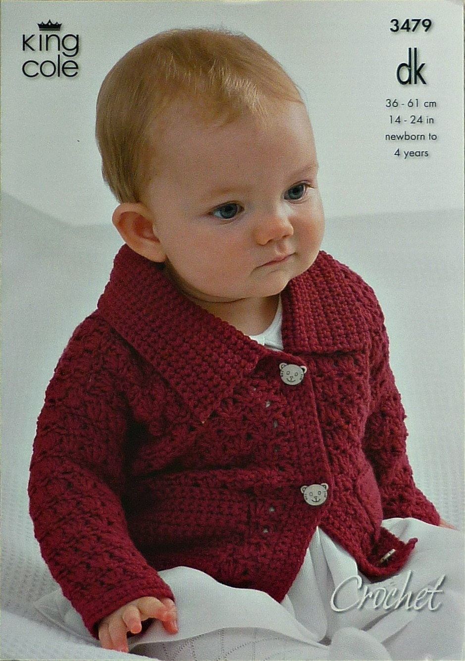 Baby häkeln Muster C3479 häkeln Muster Babys Langarm-Jacke mit