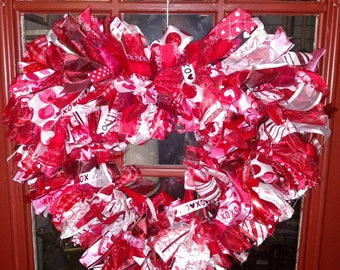 Valentine Heart Ribbon Wreath