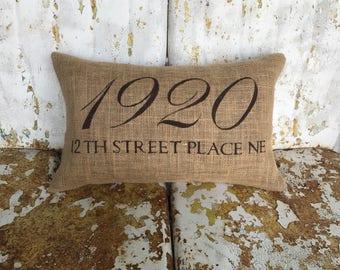 Custom STREET name and ADDRESS Accent Pillow on Cotton Canvas or Burlap  Farmhouse Throw Pillow Custom Colors Hostess Gift Housewarming